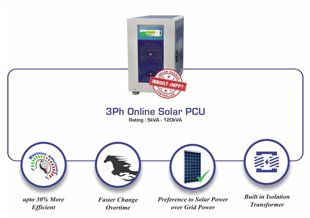 3Ph Online Solar PCU Mars Rating 5kVA - 120kVA